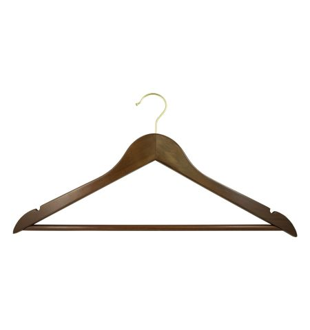 "Adult 17"" Notched Hanger with Bar in Walnut Color with Gold Hardware"