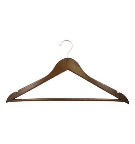 "Adult 17"" Notched Hanger with Bar in Walnut Color with Chrome Hardware"