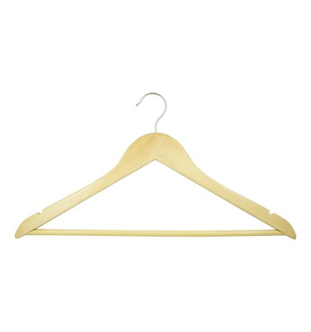 "Adult 17"" Notched Wooden Hanger with Bar in Natural Wood Color"
