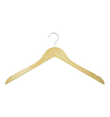 "Adult 17"" Notched Wooden Hanger without Bar in Natural Wood Color"