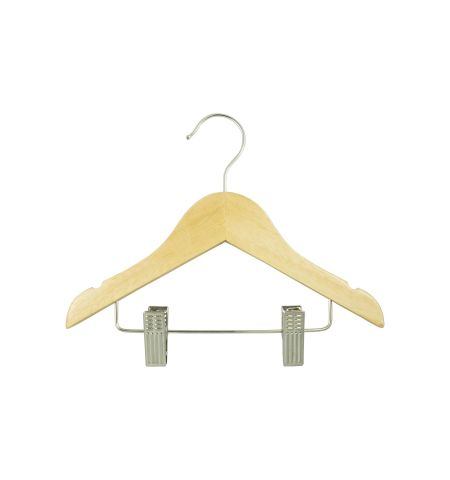"Infant 10"" Notched Wooden Hanger with Clips in Natural Wood Color"