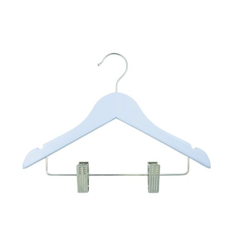 "Children's 12"" Notched Wooden Hanger with Clips in Blue Color"