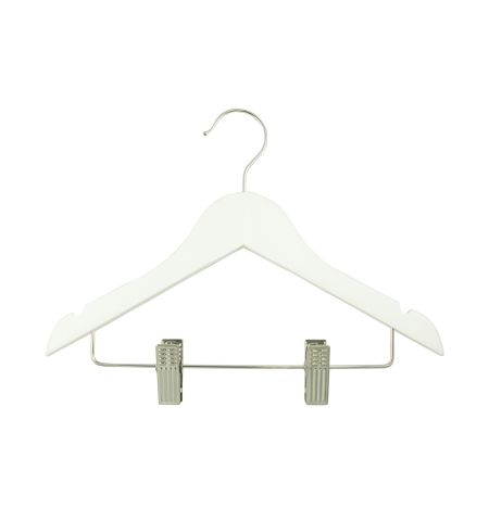 "Children's 12"" Notched Wooden Hanger with Clips in White Color"