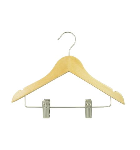 "Children's 12"" Notched Wooden Hanger with Clips in Natural Wood Color"