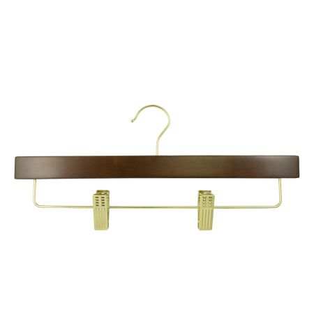 "Adult 14"" Pant/Skirt Hanger with Clips in Walnut Color with Gold Hardware"