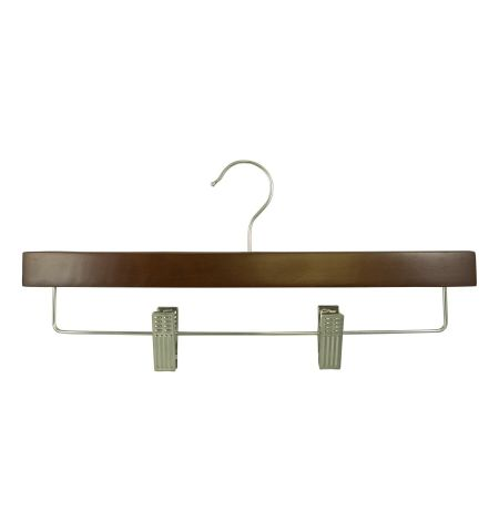 "Adult 14"" Pant/Skirt Hanger with Clips in Walnut Color with Chrome Hardware"