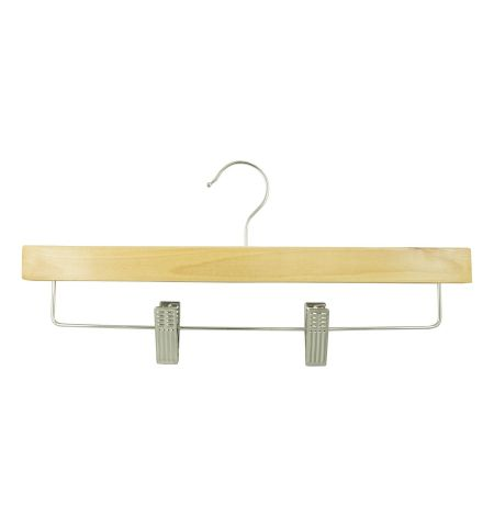 "Adult 14"" Pant/Skirt Hanger with Clips in Natural Wood Color"