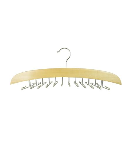 Tie Hanger Wide in Natural Wood Color with Chrome Hardware