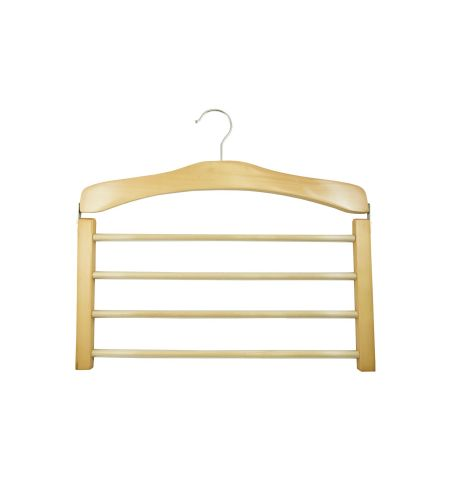 Pants Hanger in Natural Wood Color with Chrome Hardware