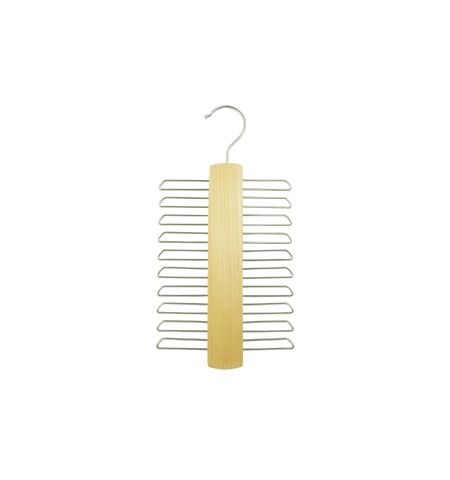 Tie Hanger Tall in Natural Wood Color with Chrome Hardware